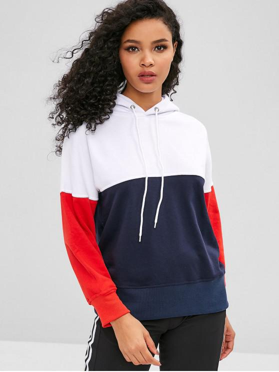 online Drop Shoulder Color Block Drawstring Hoodie - MULTI-A S