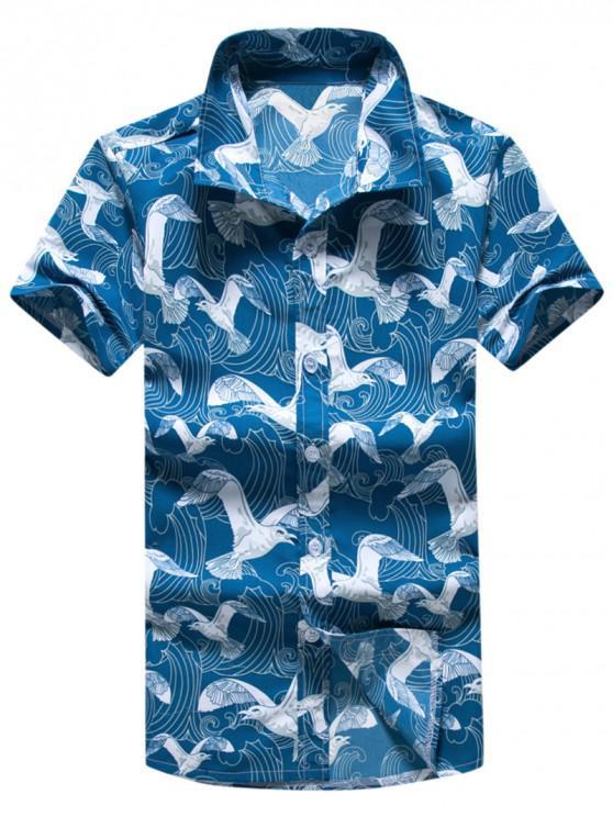 ladies Seagulls Print Short Sleeves Board Shirts - MULTI XL