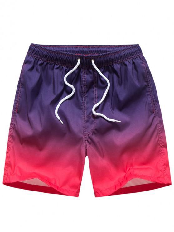 affordable Ombre Print Drawstring Beach Shorts - PURPLE M