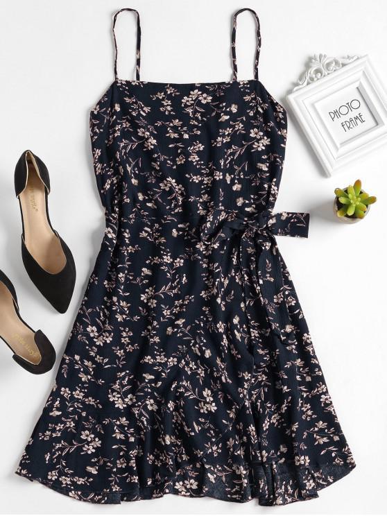 buy Ruffles Overlap Mini Dress - MIDNIGHT BLUE M