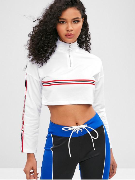 best Striped Zipper Crop Sweatshirt - WHITE M