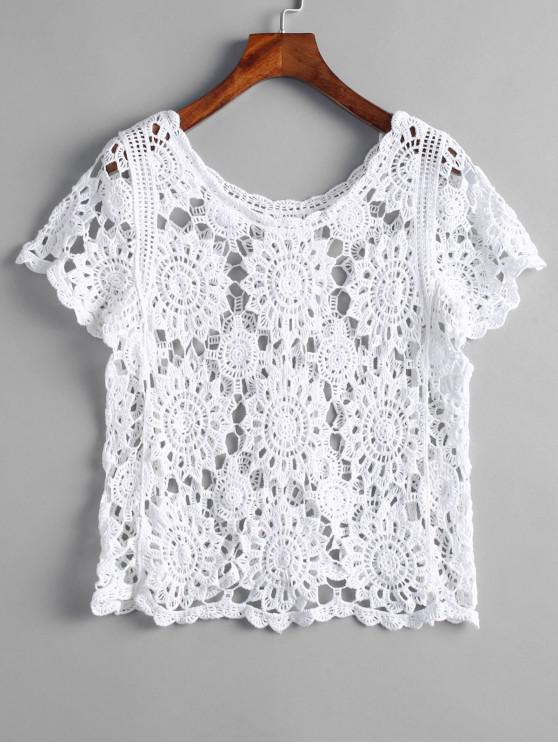 outfits Scoop Neck Crochet Top - WHITE ONE SIZE