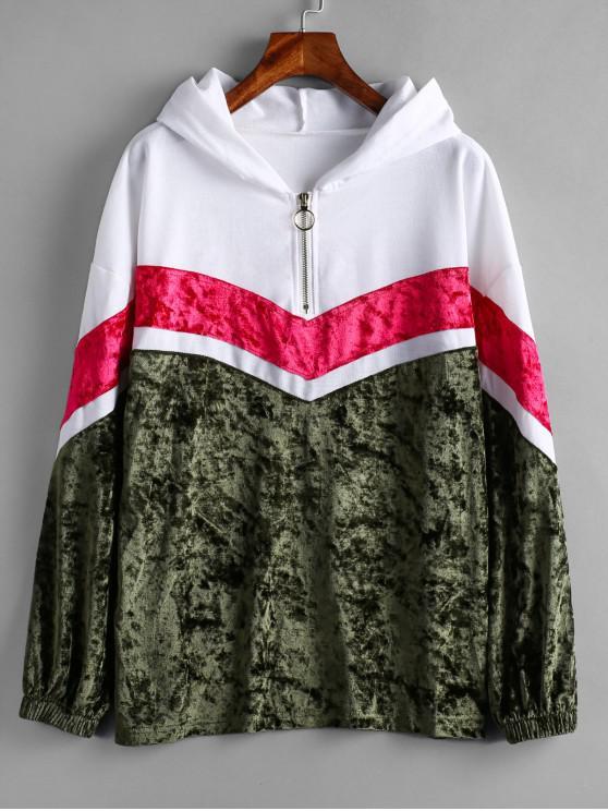 online Chevron Paneled Pullover Hoodie - MULTI XL