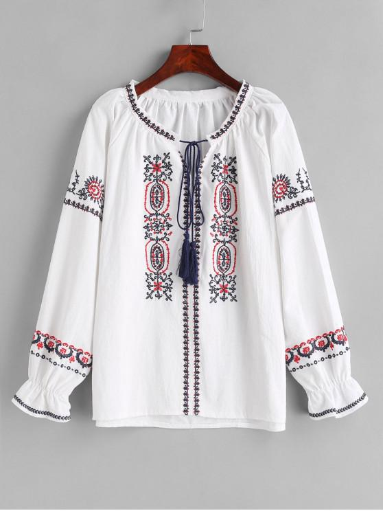best Embroidered Tassels Bowtie Blouse - WHITE ONE SIZE