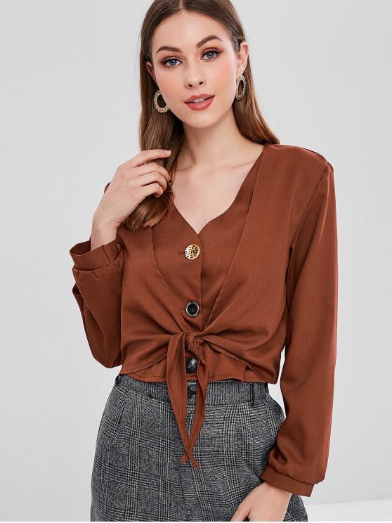 outfits V Neck Button Up Tie Hem Blouse - CHESTNUT RED S