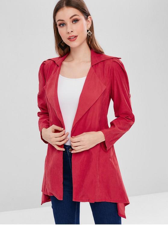 unique Cuffed Sleeves Plain Asymmetric Coat - CHESTNUT RED 2XL