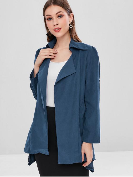 buy Cuffed Sleeves Plain Asymmetric Coat - DEEP BLUE M