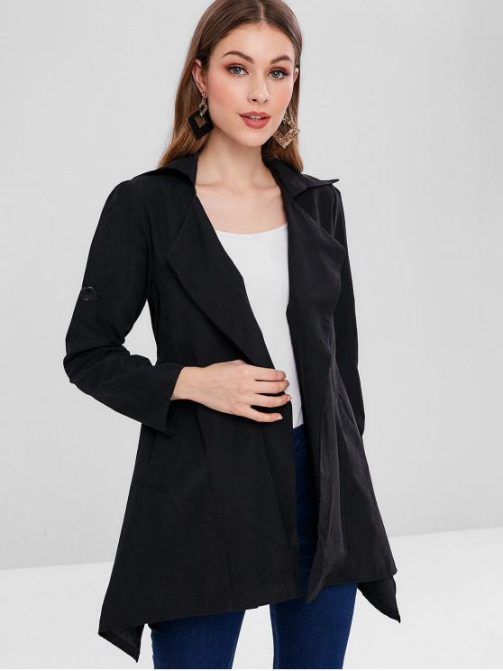 womens Cuffed Sleeves Plain Asymmetric Coat - BLACK 2XL