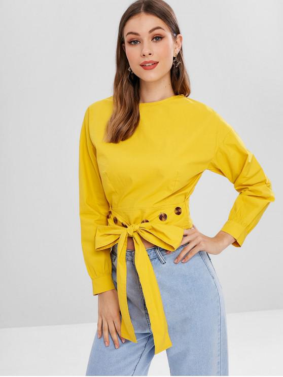 buy Buttoned Tie Front Blouse - RUBBER DUCKY YELLOW XL
