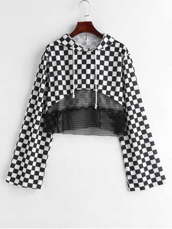 buy Checkered Fishnet Insert Hoodie - BLACK XS