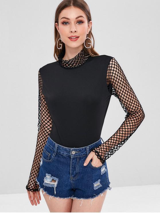 chic Mock Neck Mesh Panel Bodysuit - BLACK S