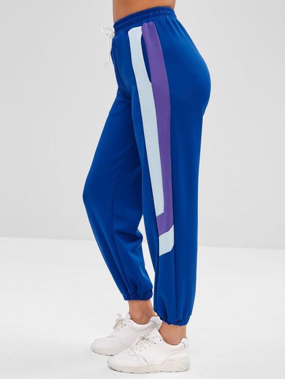 Pantaloni Da Jogging Tricolore A Vita Alta Di ZAFUL - Blu L