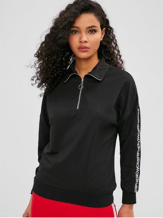 women Letter Quarter Zipper Drop Shoulder Sweatshirt - BLACK S