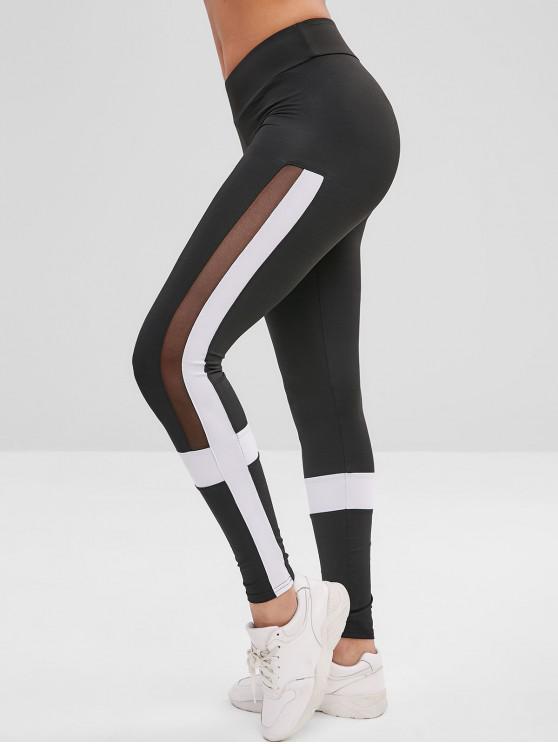 Leggings Di Yoga Bicolore - Nero L