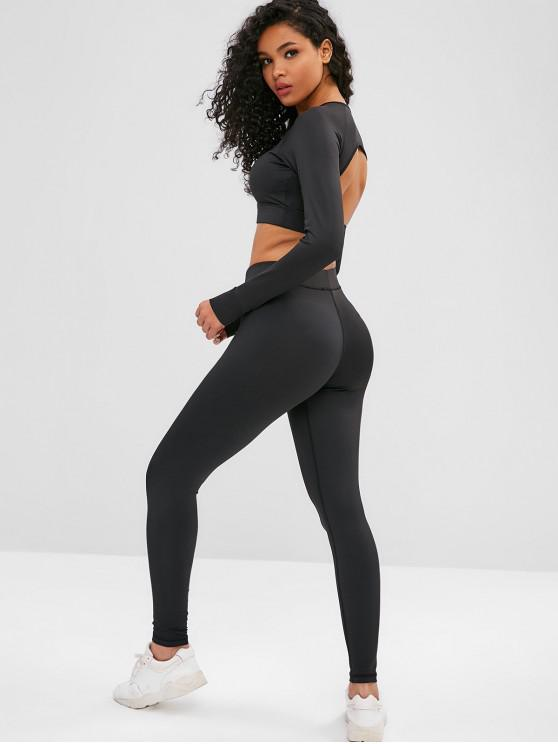 hot Cut Out Crop Gym Tee and Leggings Suit - BLACK L