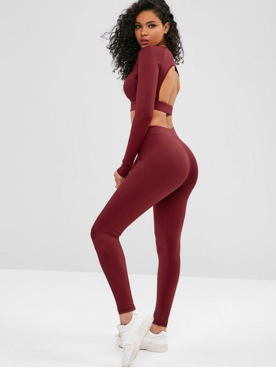 outfit Cut Out Crop Gym Tee and Leggings Suit - RED WINE M
