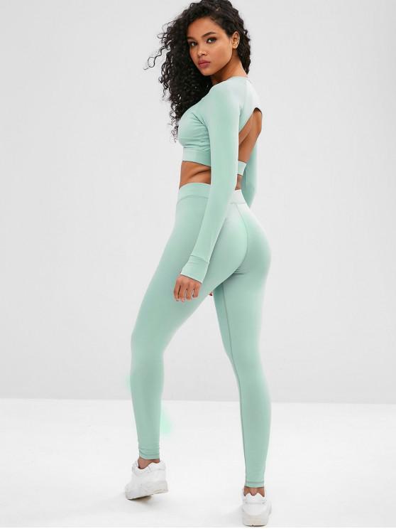 Cut Out Crop Gym Tee and Leggings Suit - Verde de Mar Escuro M