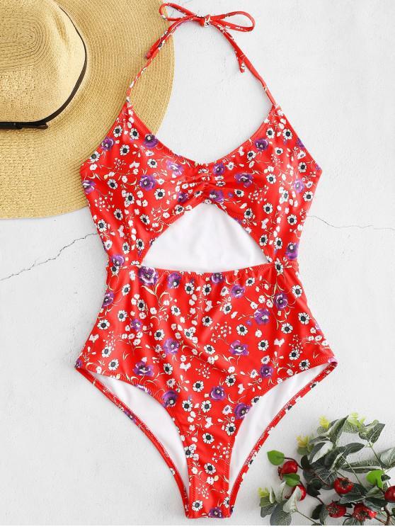 chic ZAFUL Floral High Cut One-Piece Swimsuit - MULTI-A L