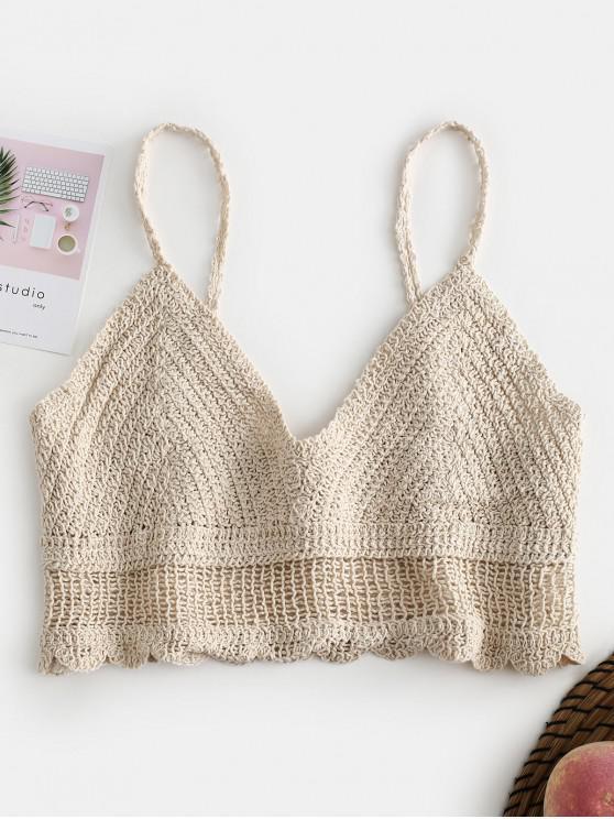 latest Scalloped Crochet Camisole - LIGHT KHAKI ONE SIZE