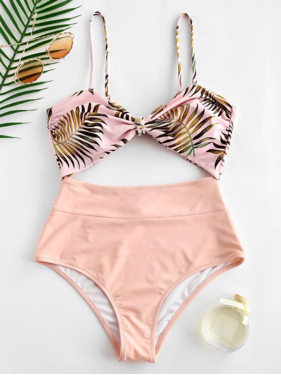 latest ZAFUL Leaf Cutout Knot Bandeau Swimsuit - SAKURA PINK M