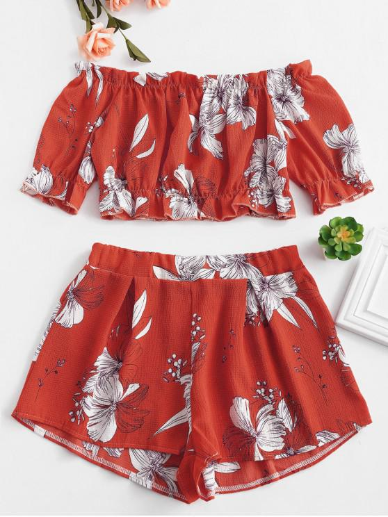 women's Off Shoulder Floral Top And Shorts Set - LAVA RED M