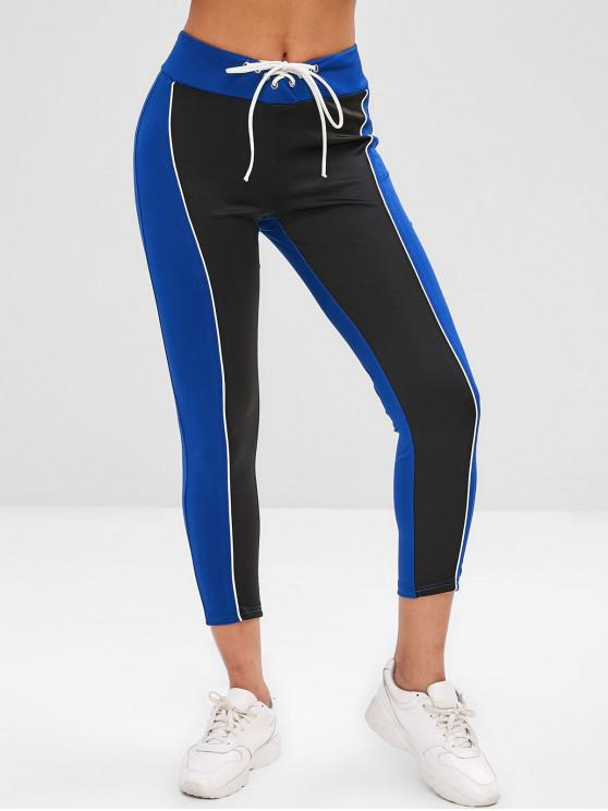 women's Two Tone Lace-up Gym Leggings - DODGER BLUE S
