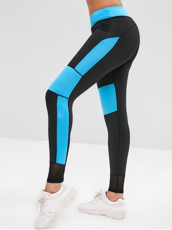 Leggings Sportivi In Contrasto - Blu Scuro del Cielo S