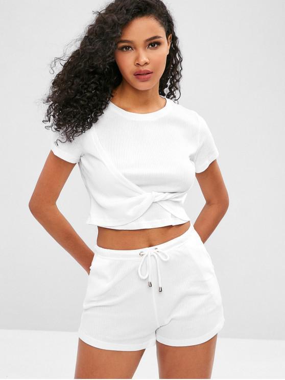 chic Ribbed Twisted Shorts Set - WHITE S