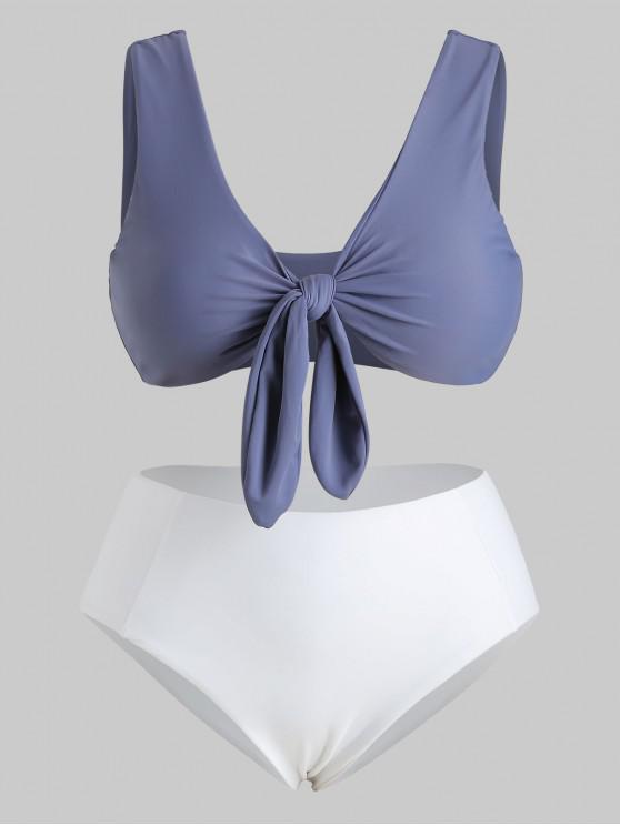 fancy ZAFUL Tie Front Plus Size Bikini Set - SLATE BLUE 3X