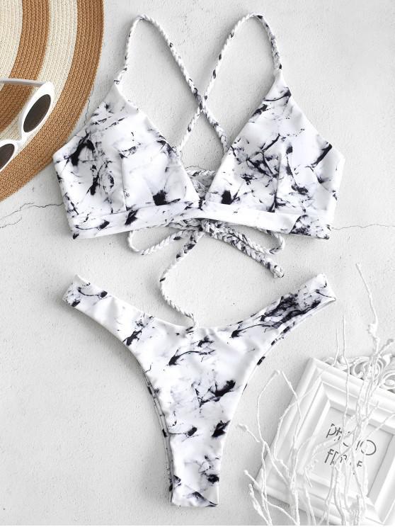 ZAFUL Marble Cross Braided Lace-up Bikini Set - Multi L