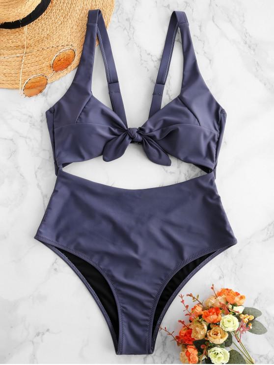 hot ZAFUL Knot Cutout One-piece Swimsuit - SLATE GRAY L