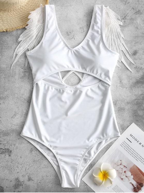 women's ZAFUL Wing Applique Crisscross Cut Out Swimsuit - WHITE M