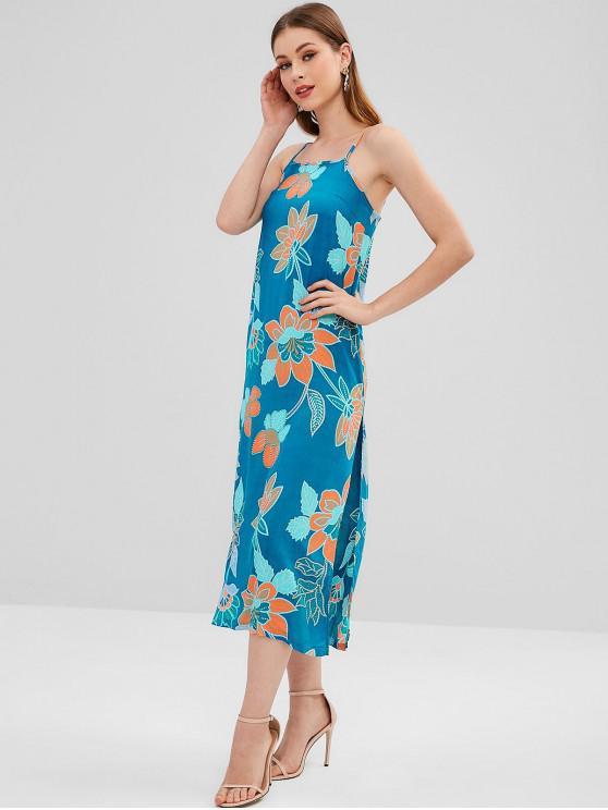 affordable Slit Beach Flower Print Cami Dress - BLUE XL