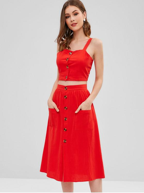 women's Smocked Button Up Top And Skirt Set - RED S