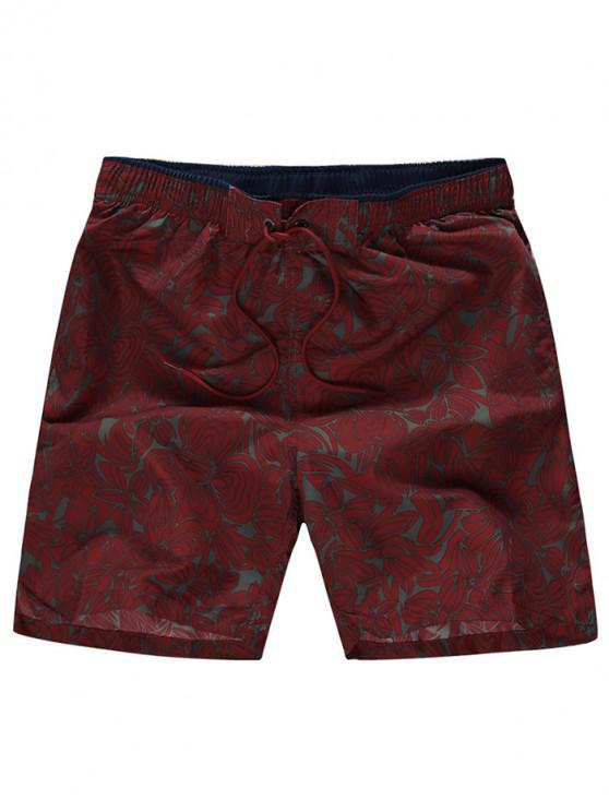 trendy Floral Print Elastic Drawstring Casual Shorts - FIREBRICK L