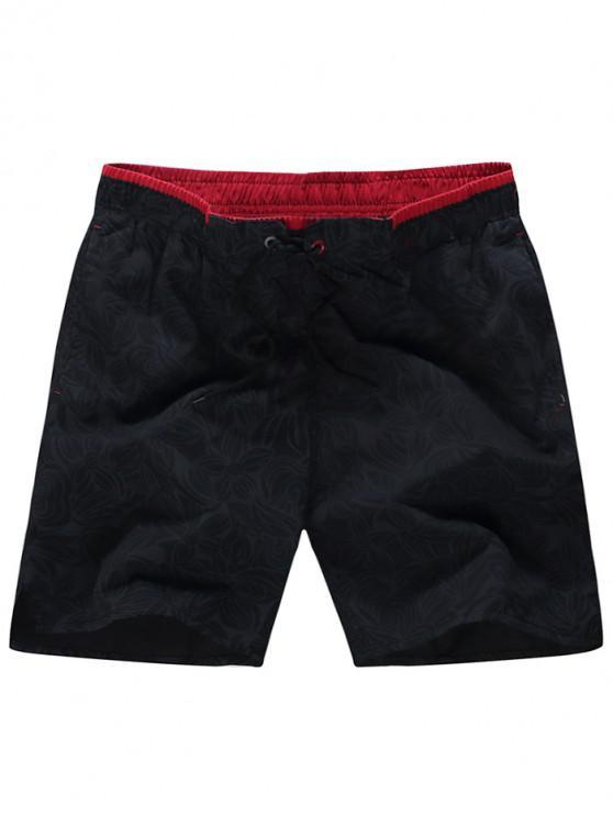 buy Floral Print Elastic Drawstring Casual Shorts - BLACK M
