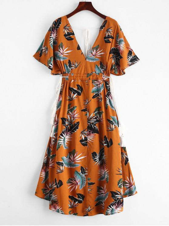 fashion Batwing Printed Cut Out Midi Dress - LIGHT BROWN L