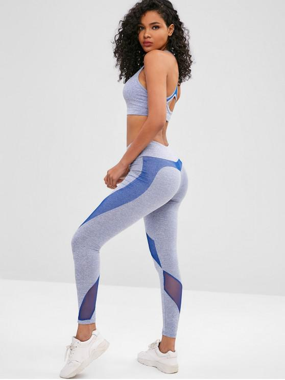 womens Space Dye Racerback Gym Bra and Leggings Suit - OCEAN BLUE L
