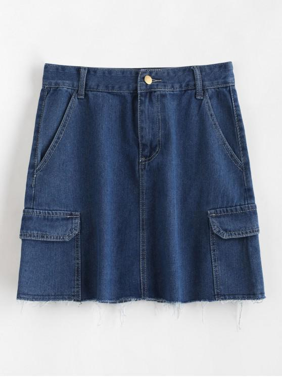 women Flap Pockets Frayed Jean Skirt - DENIM BLUE XL