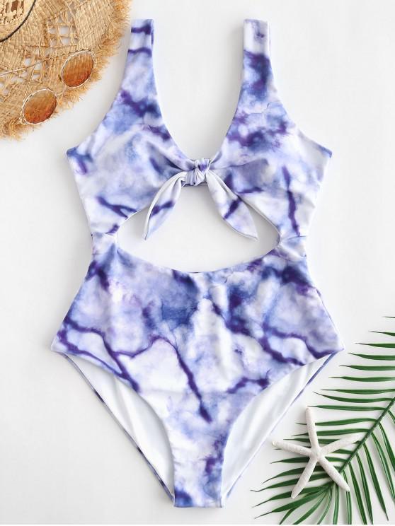 womens ZAFUL Marble Cutout Tie Reversible Swimsuit - MULTI-A S