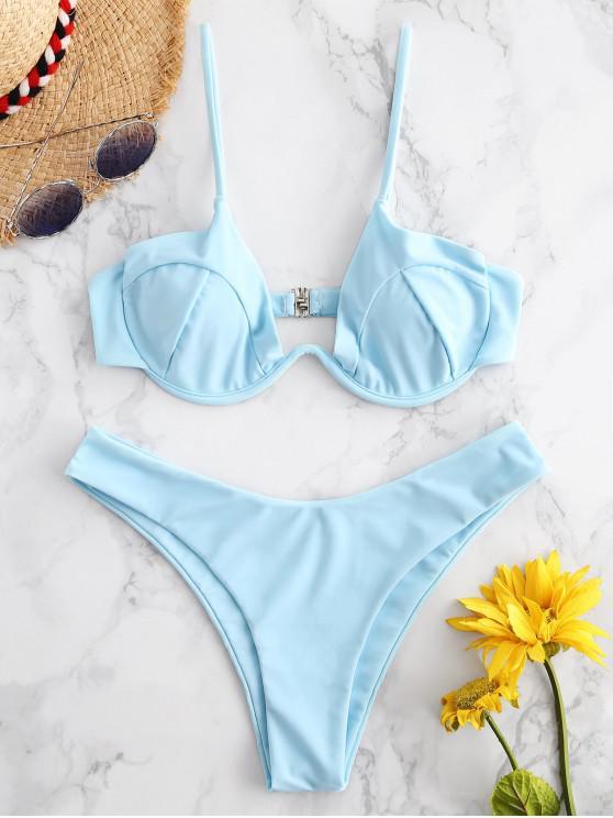 ZAFUL Ensemble de Bikini en Forme de W à Armature - Bleu Ciel Léger  L