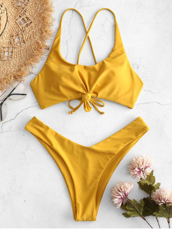 trendy ZAFUL Knot Lace-up Criss Cross Bikini Set - BEE YELLOW M