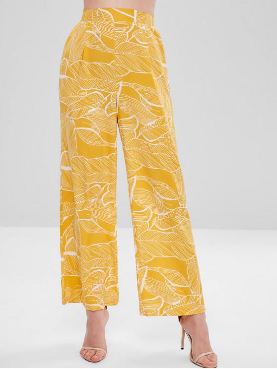lady Pocket Leaf Print Palazzo Pants - YELLOW S