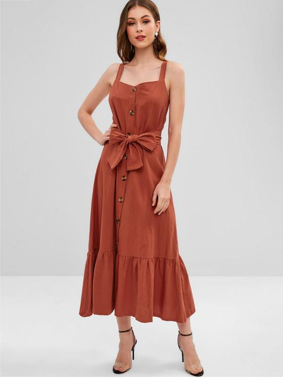 Maxi Robe Ligne A Boutonnée - Saumon Orange L