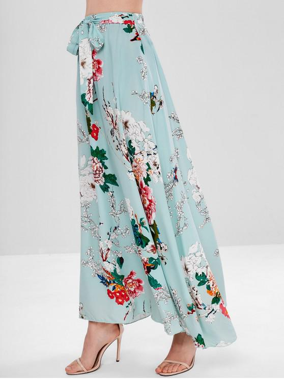 fancy Tie Floral Maxi Skirt - GREEN S