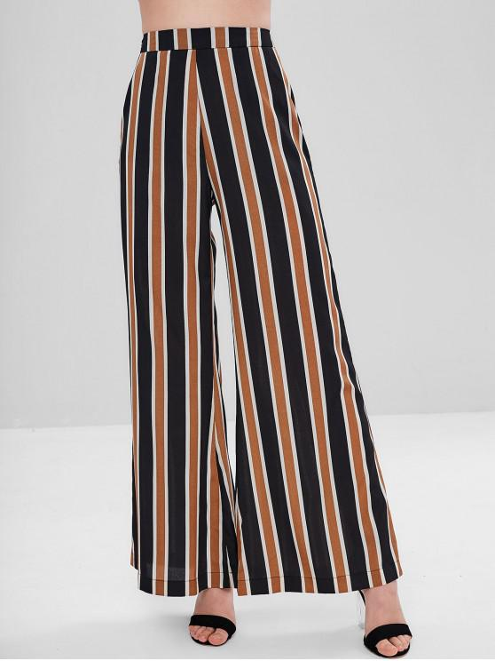 best ZAFUL Pockets Striped High Waisted Wide Leg Pants - MULTI-A L