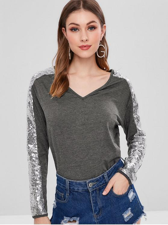 chic Long Sleeve Sequined V Neck Tee - MULTI L