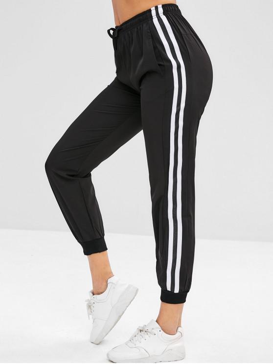 buy ZAFUL Striped Drawstring Jogger Pants - BLACK L