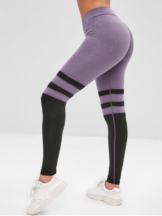 best Two Tone Elastic Gym Leggings - PURPLE SAGE BUSH S