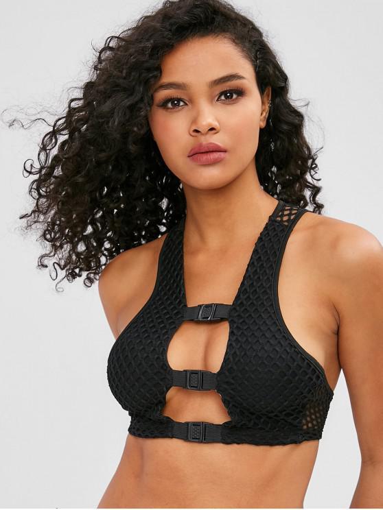 women's Hollow Out Mesh Gym Tank Top - BLACK S